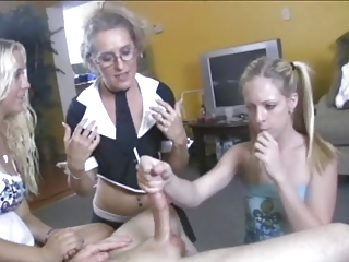mother Gives not their daughters Handjob Lesson