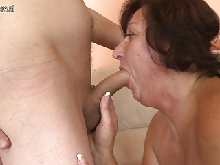 Hot grandmother fucking and sucking youthful cock