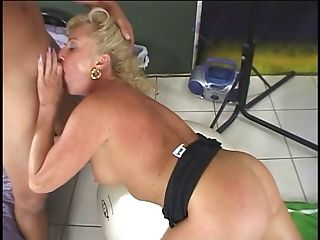 Hot, mature blonde gets cum on her face after giving head, taking cock