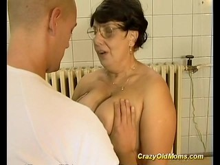 Brunette busty old mom gets big cock fucked by youthfuler guy