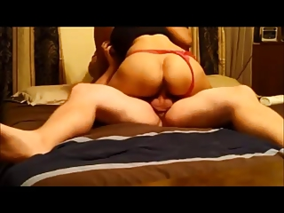 Amateur wife riding on homemade