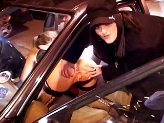 British matures Threesome fucks outdoor on a car