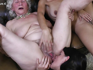 Three old and youthful lesbians have great sex