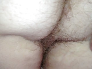 playing with the wifes hairy asshole & pussy from behind.
