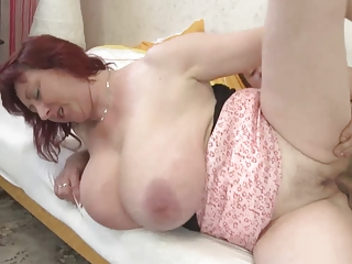 Awesome Huge-Boobs-Milf fucked by youthful Guy