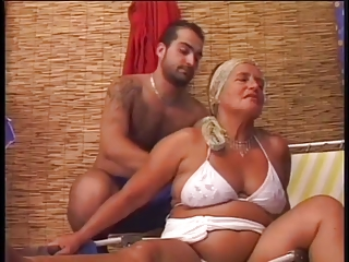 Sensual chubby granny fucks with youthful