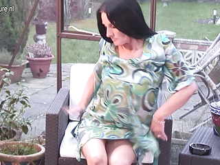 Old British granny gets her pussy all wet