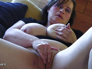 Busty old mother dreaming of youthful cock