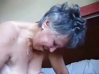 Granny jerking and cum on tits