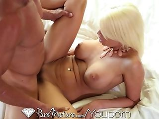Pure Mature Big-titted blonde gets facial from big cock