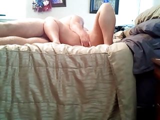 Fingering wife's hairy pussy