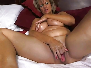 Awesome big tited mom masturbates
