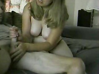 Squeezing out his thick, warm cum all over her happy face