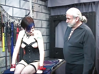 Cute tattooed bdsm brown-haired is hooked up to electricity torture device