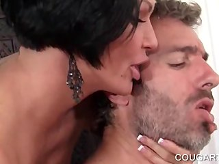 Kinky nympho cougars eating cock get face cumshot