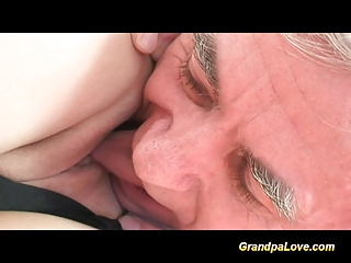 Old fart gets lucky giving cock to a big tits blonde babe