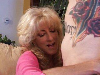 MILF hot blond pussy seduces him