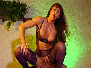 Mature red head slut wraps her mouth and pussy around a thick cock