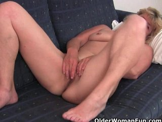 Fuckable grandma spreads her old pussy wide