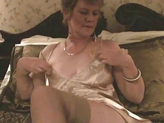 Old Lady, Stockings & Dildo (Masturbation)