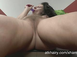 Hairy pussy mature amateur Jana masturbates on ATKHairy.com