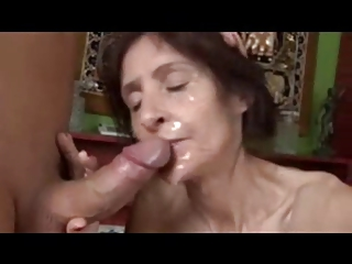 Slim mature loves cum!