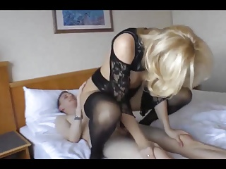 Mature in stockings fuck with young guy