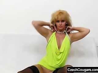 Cunt sexing in addition to a latex cock plus mature blond