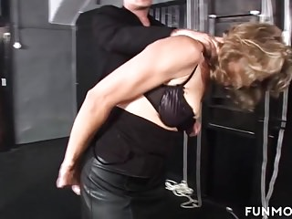 German grannie restrain bondage slapping