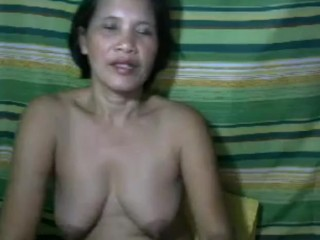 Filipina grandmother flashing gigantic fun bags and lovely caboose on web cam