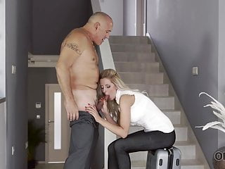 Aged4K. Aged guy and big-boobed wifey come home only to begin...