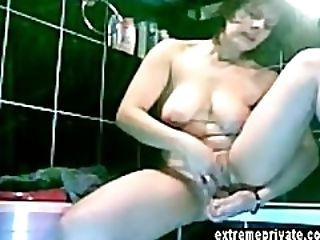 Spying Mom masturbating in our bathroom