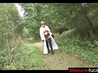 Find her on MATURE-FUCKS.COM - Brit Trophy Wife Takes a Stroll in the Woods