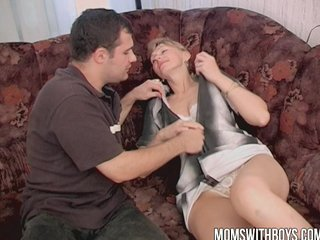 Hot Mama Gets Hard Young Cock After Cleaning