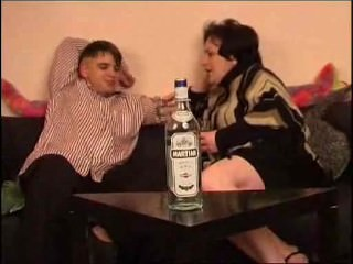 Fat drunk russian mom fucks hard with young boy