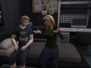 SIMS four - son-in-law spying mother in bathtub, She teachs him hump