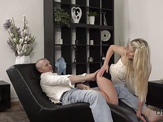 OLD4K. Mature stud uses thumbs to get ready chick's cooch for..