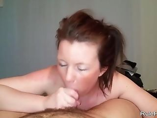 Ponytail wife POV sucking and cum swallow