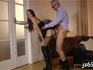 Youthfull cockslut gets eaten up and pounded by a mature man