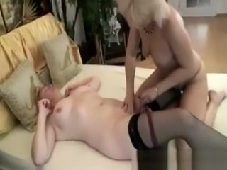 Grandmothers ravage each other with strap dildo