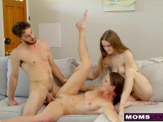 MomsTeachSex - cougar Se Folla A su Yerno y Su Hija