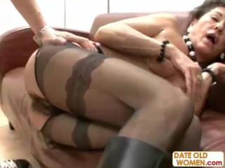 Hairy German grandma takes two cocks