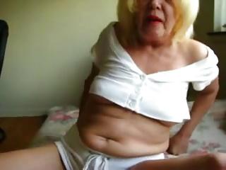 Granny Squeezing Cock