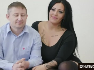 Swinger super-bitch Ashley Cumstar smashed in front of spouse