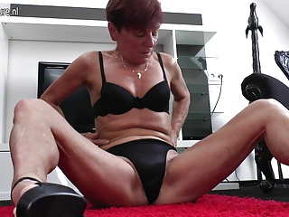 Skinny old granny with hairy hungry vagina