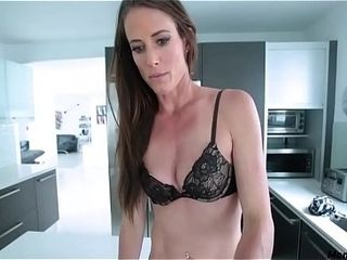 Brown-haired red-hot mummy is MORE than okay with son&#039_s bulge!