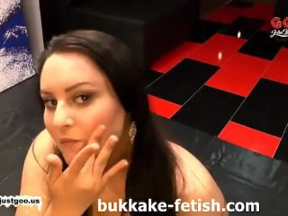 Pig tailed bukkake slut loves cum - bukkake-fetish.com