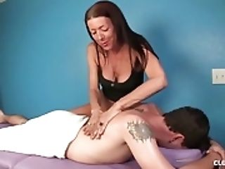 Naughty Mature Masseuse Handjob