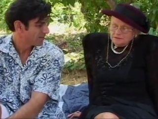 Elderly sheila Enjoys burnish apply into burnish apply open air