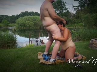 """""""PRElook"""" ultra-kinky wifey deepthroats hubbies man meat OUTDOORS naked IN utter look"""